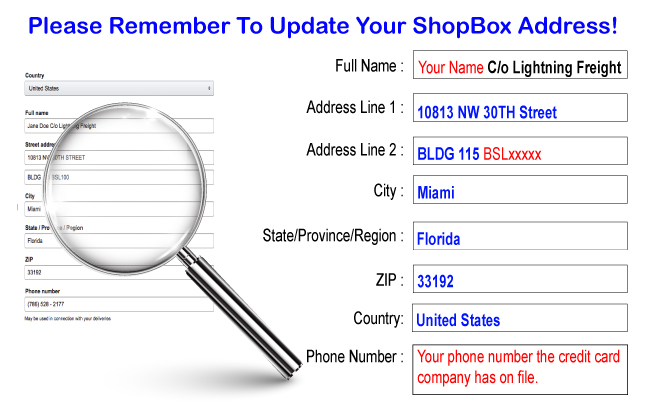 Update Your ShopBox Address Today.